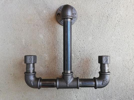 Vintage Garderobenhaken als Anker Eisenrohr Ankerhaken im Steampunk Industrial Style Design Wandgarderobenhaken