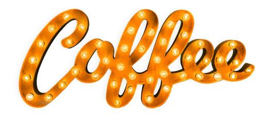 Coffee Vintage LED Schriftzug Leuchtschrift Kaffee Cafe Coffeeshop Einrichtung Wanddekoration Rostige Metallbuchstaben