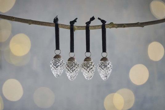 4er Set Antik Silber Design Weihnachtsbaum Kugeln Zapfen Christbaum Dekoration