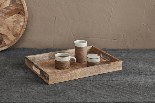 Premium Design Mangoholz Tablett Serviertablett aus Holz Holztablett
