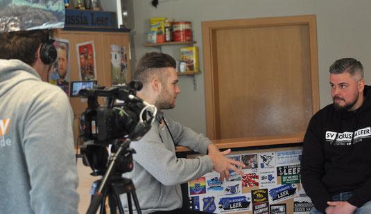 Borussias Kai Buttjer im Gespräch mit den Redakteuren von Ems TV.
