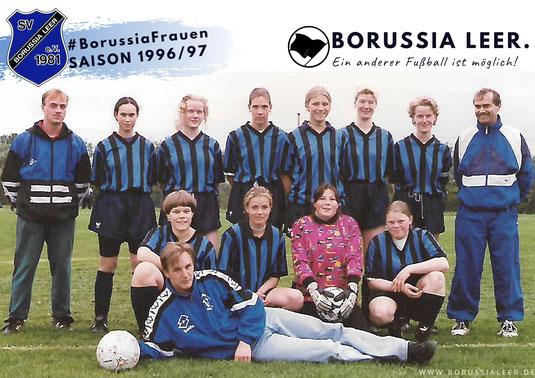 Unser historisches Foto zeigt Borussias Frauenfußball-Team im Jahr 1996. Namen siehe Text.