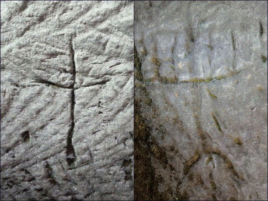 Cross and Seven-Branched Menorah found in Israeli cave. Photo courtesy of Israel Antiquities Authority.