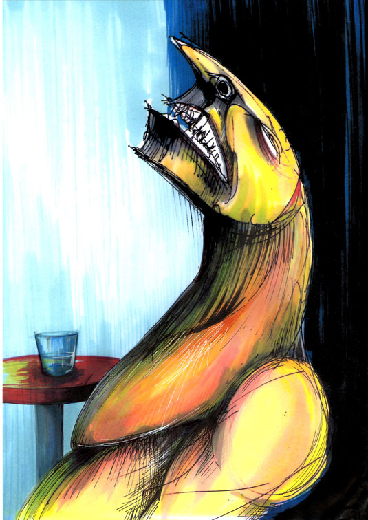 Titolo originale: Il feticcio, 2018, china e pennarelli ad alcol su carta