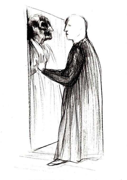 Titolo originale: Allo specchio, 2018, matita nera su carta