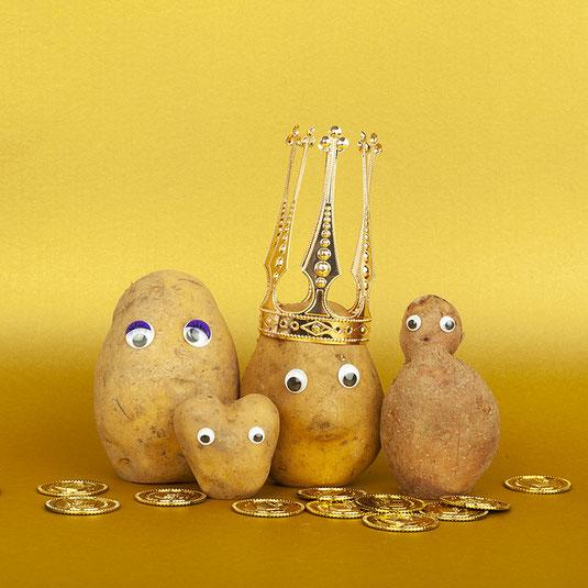 Wertschätzung, sustainable design, Kartoffelkönig, piaschweisser, finep, gold, lesswaste, zerowaste, grafikdesign, produktdesign, stuttgart, Kartoffeln, Goldmünzen