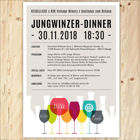 Wein, Weinplakat, Dinner, Weinprobe, Jungwinzer, Grafikdesign, Kesselliebe, KSK Vintage Winery, Stuttgart, Gourmet,