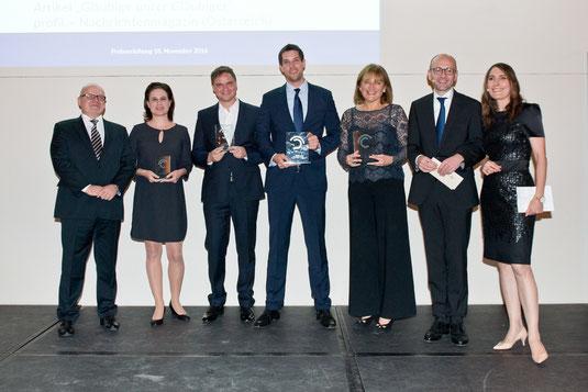 Dr Michael Jaffé, Christina Hiptmayr (3rd prize), Adrian Hoffmann (2nd prize), Andreas Dörnfelder (winner), Gertrud Hussla (winner), Prof. Lucas F. Flöther, Anja Kohl