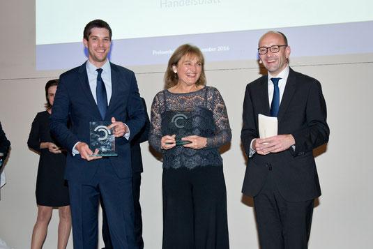 Andreas Dörnfelder (winner), Gertrud Hussla (winner), Prof. Lucas F. Flöther