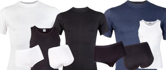 Collectie van Beeren Bodywear: Comfort Feeling. Slips, hemd en t-shirts. Zwart, wit en marine