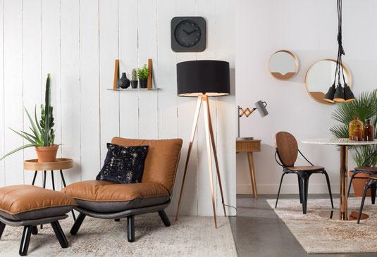 Coole Sessel & Hocker Kombination im lässigen Lagom Style aus dem MÖBELLOFT