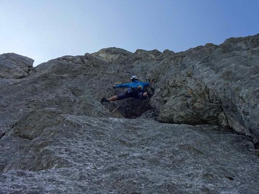Super Kletterei in der fünften Länge