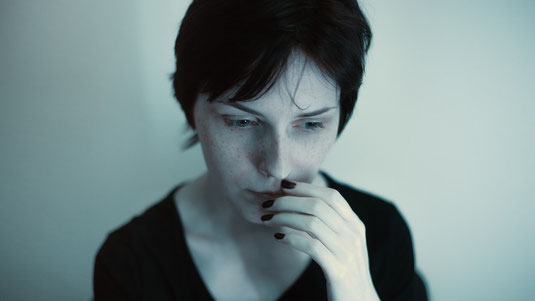 Socially anxious woman.