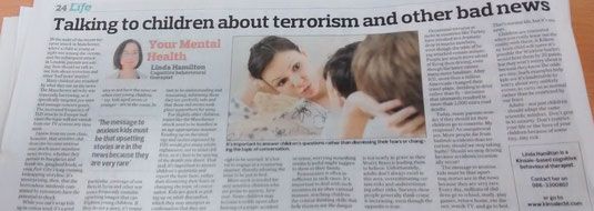 Linda Hamilton's Southern Star column on how to talk about terrorism to children.