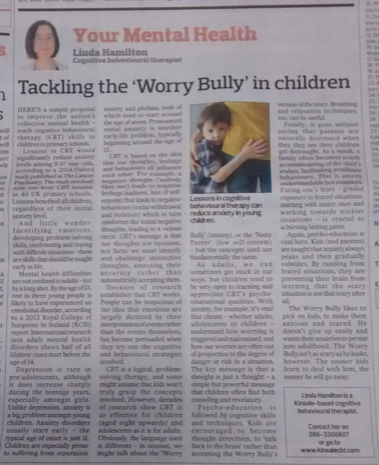 Linda Hamilton's Southern Star column on CBT for anxious children.