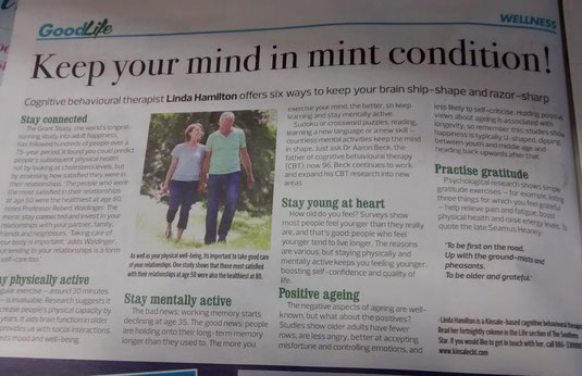 Linda Hamilton column on tips for positive ageing.