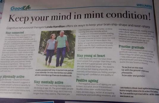 Linda Hamilton column on tips for positive ageing.