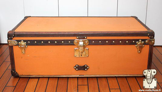 Malle cabine louis vuitton toile vuittonite orange