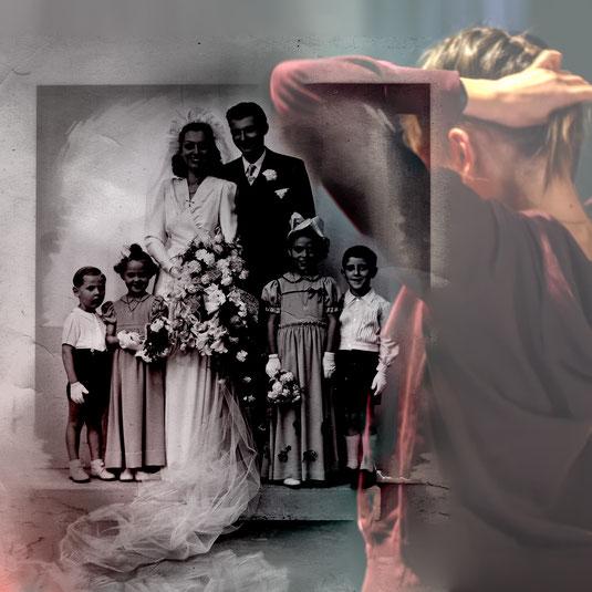 photographie de mariage. Montage