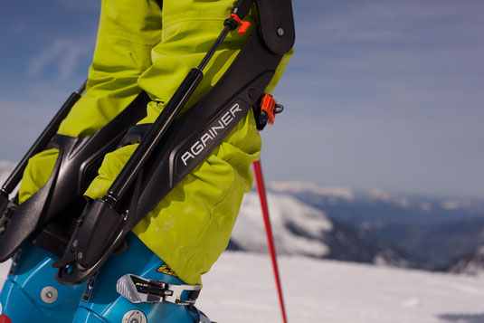A set of Againer ski system on a mans leg