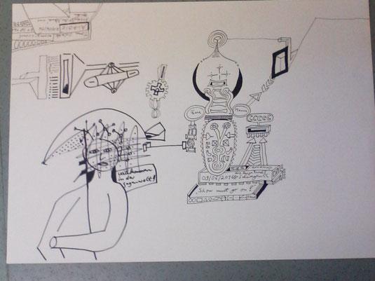 """Zeichnung """"Willkommen in der Gegenwelt"""""""