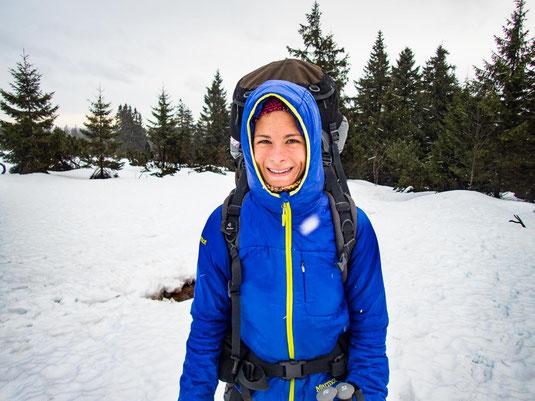 Dick eingepackt vor der Kälte und dem Eisregen