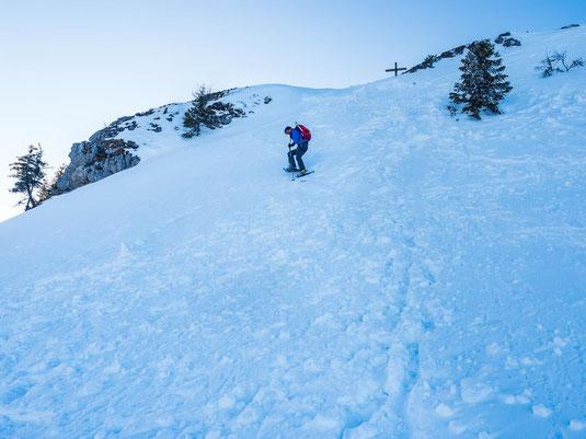 Der steile Abstieg hinunter vom Taubenstein