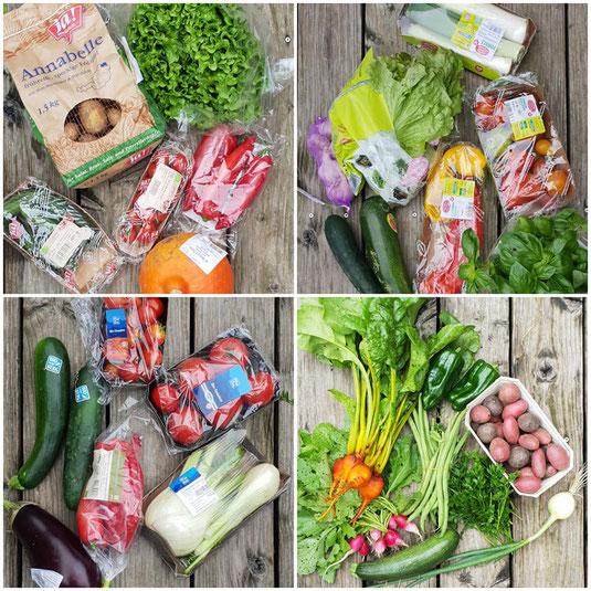 """Beispiel eines kleinen Gemüse-Abos unten links: gelbe Bete """"Boldor"""" mit Blättern, Paprika """"Poblano"""", Kartoffelvielfalt, aromatische Petersilie, Fisolen """"Cobra"""" mit Bohnenkraut, Zucchini, Zwiebel """"Dakota Tear"""", Radieschen """"French Breakfast"""""""
