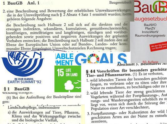 Eine Collage mit der Anleitung zum Umweltbericht und §44 Naturschutzgesetz
