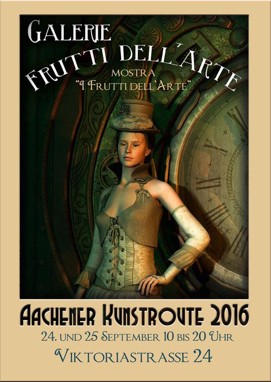 Plakate mit Steampunkmotiven des Aachener Künstlers Marcus Löhrer auf der Aachener Kunstroute 2016 in der Aula Carolina und der Galerie Frutti dell'Arte, verteten auf der Aachener Kunstroute.