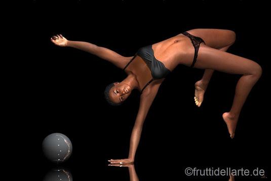 Tänzerin macht Handstand. Aus der Serie Tanz 1 des Künstlers Marcus Löhrer der neue Arbeiten auf der Aachener Kunstroute 2017 in der Galerie Frutti dell'Arte zeigt.