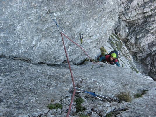 Kletterer im Hainriß an der Rosskuppenkante