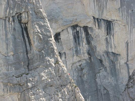 Kletterer an der Rosskuppenkante am Nachmittag