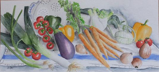 Aquarell mit verschiedenen Gemüsesorten