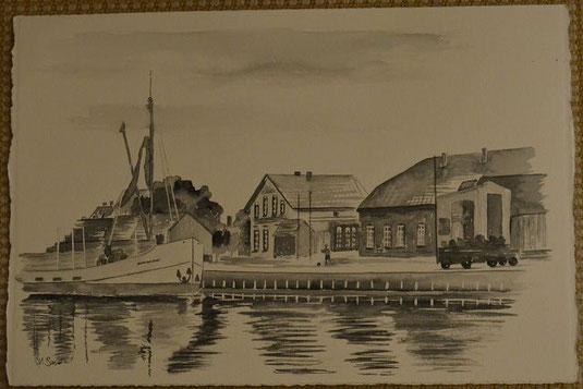 Aquarell des alten Hafen von Varel in Schwarz-Weiss