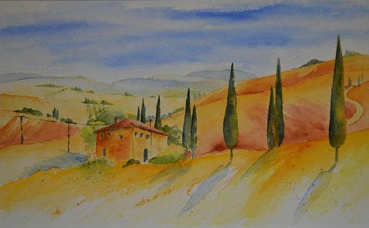 Sonnige Toscana- Landschaft in Aquarelltechnik