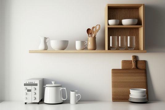 男女のビジネススーツ、会社、保育園のかたちをしたペーパークラフト。仕事と家庭の両立。