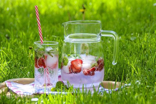 緑の芝生上に置かれたお盆。イチゴとミント、氷の入ったガラスのウォーターポット。グラスに注がれたソーダ―。イチゴ、ミント、ストロー。