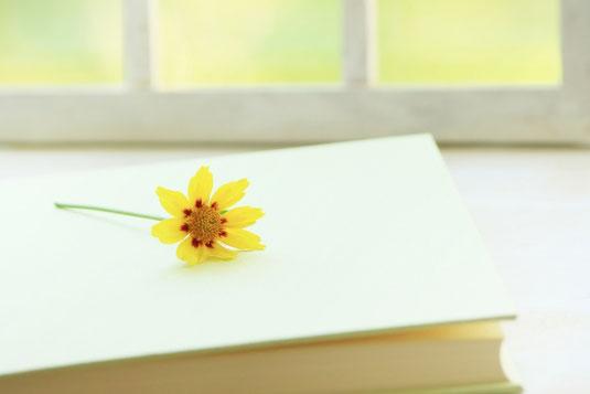 ノートパソコンとコーヒーの入ったオレンジ色のマグカップ。