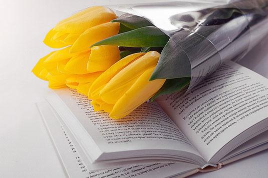 ページが開かれた洋書のうえにおかれたカエルのオーナメント。アジサイの花。