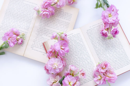 ページが開かれた洋書が2冊。そのうえに無造作に置かれたスイトピーの花たち。