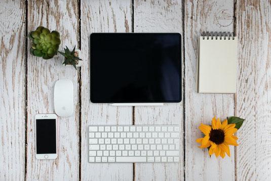 ガラスの瓶に1本ずつ活けられた4本の花。ピンクのダリア。左から背の高さ順に並べられている。