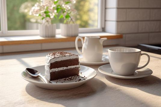 広げられた本のうえにマーガレットの花束。紅茶の入ったマグカップ。眼鏡。