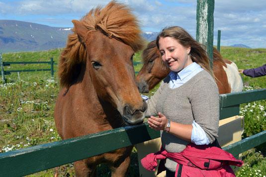 Magdalena Balks mit einem typischen Island-Pferd
