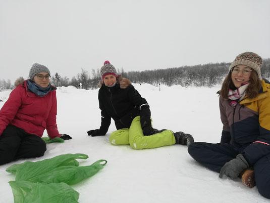 v.l. Sonja, Verena und Hannah im Schnee