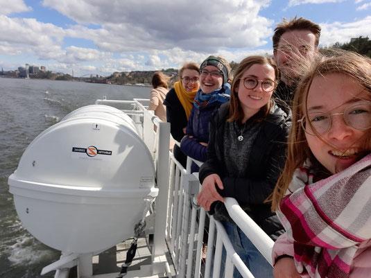 Die PiN-Teilnehmenden aus Uppsala & Stockholm Hannah, Sonja, Konrad und Clarita zeigen Julia und Isabell ihre zweite Heimat Schweden.