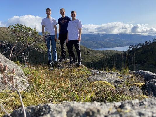 Die erste gemeinsame Wanderung der PiNler Paul, Jonas und Tim (v.l.).