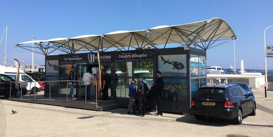 Terminal de départ et d'arrivée de l'Hélistation du centre-ville de Cannes.