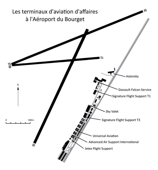 Les terminaux d'aviation d'affaires à l'aéroport du Bourget