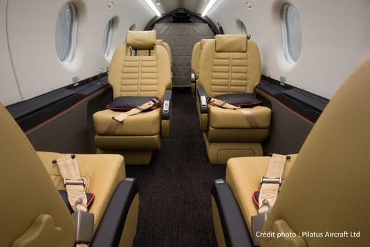 La cabine spacieuse du Pilatus PC-12 NG